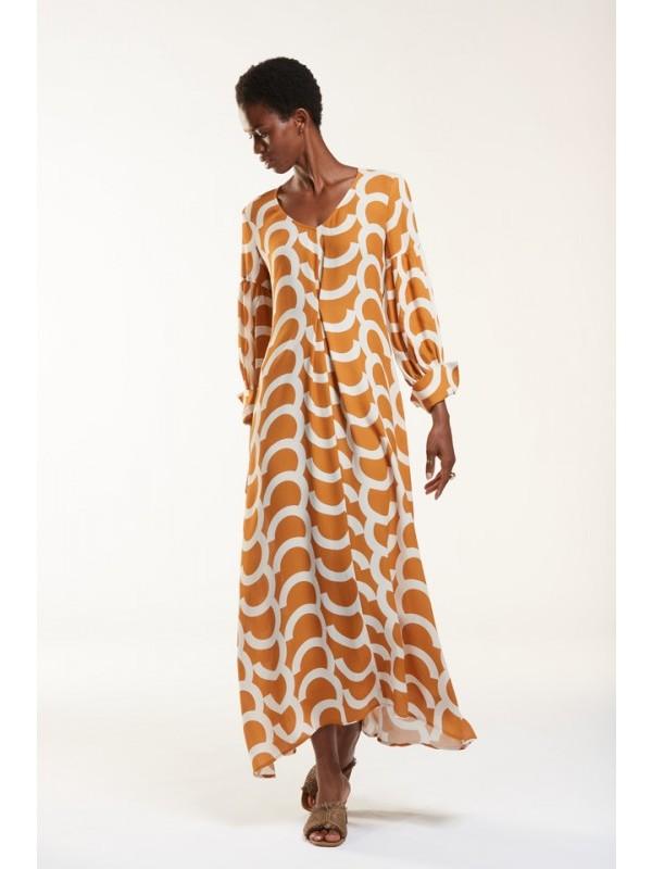 Julia June Kleed wit orange print